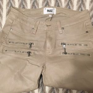 Paige Tan Coated Skinny Jeans with Zips size 29